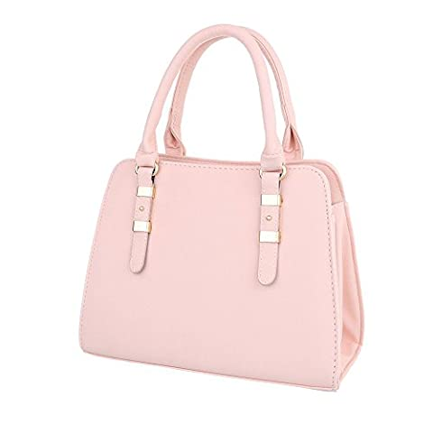 iTal-dEsiGn Damen-Tasche Mittelgroße Schultertasche Handtasche Kunstleder Rosa TA-C2334