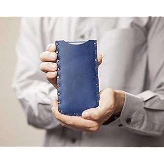 Azul Funda De Cuero para iPhone 11 Pro Max, XS Max, 8 Plus, 7 plus Cosido a mano. Caja Bolsa