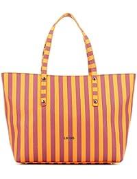 6048805205cd1 Sconto Borsa LIU-JO Maxi Shopping Stripes Colore Flame Orange ST Eco Pelle