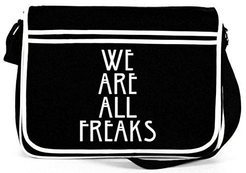 Shirtstreet24, AHS - We Are All Freaks, Retro Messenger Bag Kuriertasche Umhängetasche Schwarz