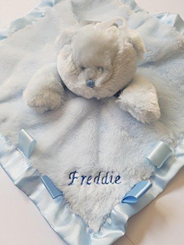 personalisierbar gesticktem Teddybär Kopf Baby Tröster Decke, (Name) (Gestickte Tröster)