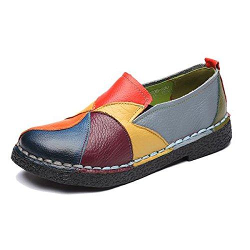 Socofy Damen Mokassins, Slippers Espadrilles Flache Loafers Bootsschuhe Hausschuhe Halbschuhe Freizeit Leder Ultra Bequem Slip-On Gelb 39
