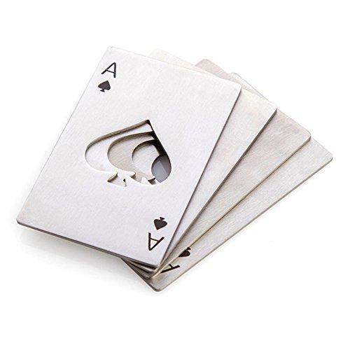 CiCy 4Pcs en Acier Inoxydable Format Carte de Crédit Poker de Casino Décapsuleur pour Votre Portefeuille, Bouteille de Bière par CiCy