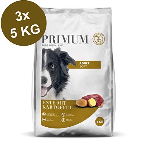 Primum   15 kg   Halbfeuchtes Trockenfutter für Hunde   getreidefrei   Soft Ente mit Kartoffel   Extra viel Fleisch   Optimal verdaulich   Herstellung in Deutschland