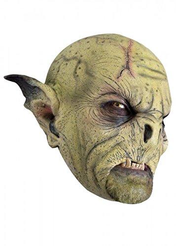 Schaurige Maske Wilder Ork in ocker Orkbestie Fratze Herrenmaske Halloween LARP Cosplay Orkgesicht aus Latex Faschingskostüm