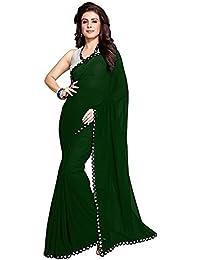 Nena Fashion Saree With Blouse Piece Lace Work Georgette Mirror Border With Blouse Piece Saree