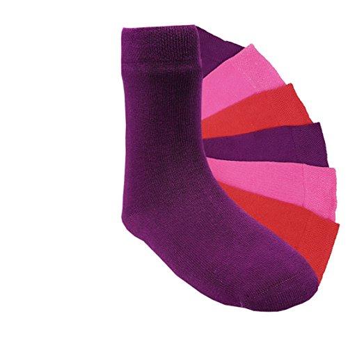6 Paar Mädchen Socken Kinder Strümpfe handgekettelt Spitze ohne Naht Baumwollsocken uni Gr. 35-38 (wmuni 35-38) (Nahtlose Socken Aktive)