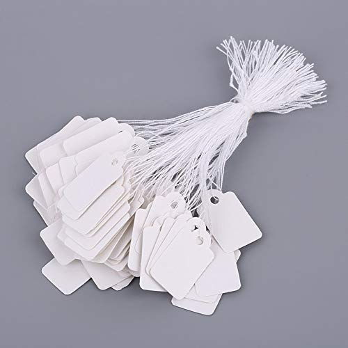 ningbao551 Rectangular Blank White 925 Silver Price Tag 100 Pcs with String Jewelry Label