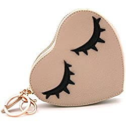 MENKAI Bolso monedero forma de corazón dibujo pestañas, cremallera con llavero.3303 Beige