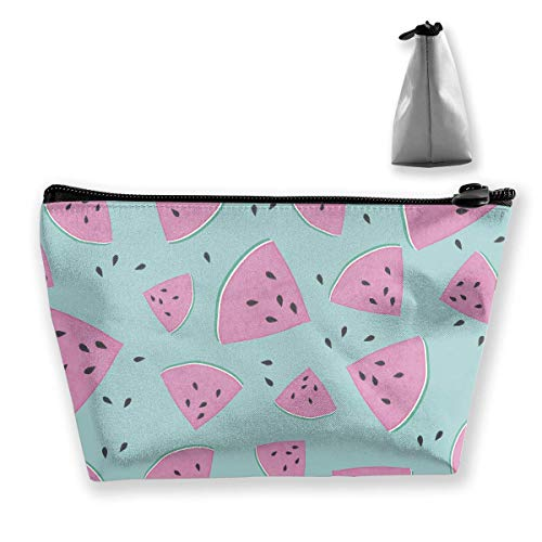 Watermelon Blue Fruit Portable Cosmetic Bag Mobile Trapezoidal Storage Bag Travel Bags with Zipper ()