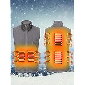 WUYANSE Chaleco con calefacción USB Chaleco con calefacción Suave y Ligero Chaleco de Calentamiento Inteligente para Invierno Chaleco con calefacción a Prueba de frialdad, Negro/Gris, S/M/L 16