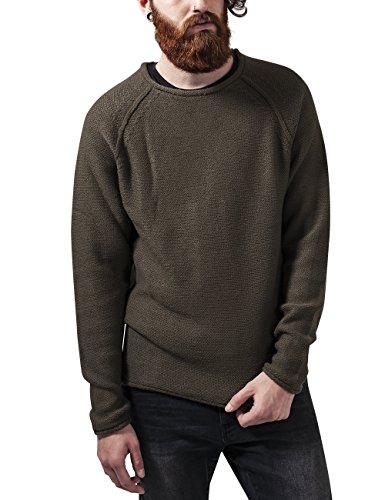Urban Classics Raglan Wideneck Sweater, Felpa Uomo, Grün (Olive 176), Large