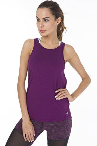 Queenie Ke Damen Soft Rückenfreie Ärmellos Bluse Yoga Shirts Vest Tanktops Fuchsie