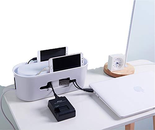 NAMENLOSE Draht Aufbewahrungsbox Wire Strip Plug-in Board Finishing Box Hub Aufbewahrungsbox USB Zubehör mit Smartphone Halter 11 * 13 * 32CM -