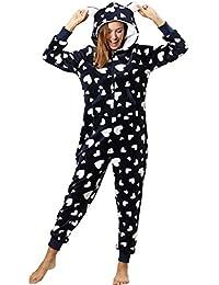 Orshoy Damen Jumpsuit Onesie Overall Einteiler Pyjama Schlafanzug Trainingsanzug Ganzkörperanzug Hausanzug Mit Kapuze & Reißverschluss