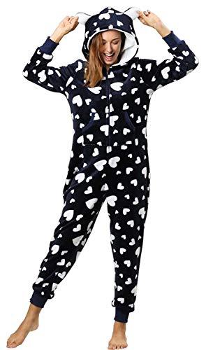 Dreamlove Damen Sweat Overall | Kuscheliger Jumpsuit | Einteiler aus bequemen Sweat-Material einfarbig Navy-Weiß L