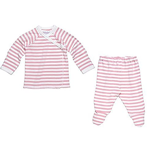 Under The Nile 2 Piece Side Snap L/ S Layette Set~Blush/Off-White~3-6 months by Under the Nile