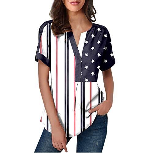 AMUSTER T-Shirt mit USA Flagge - Oversize Longshirt Große Größen Amerikanisch Flagge Kurze Ärmel Bluse Shirt Top