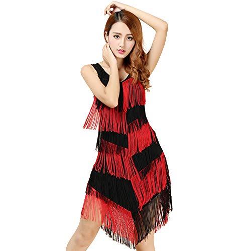 Zolimx Damen Kostüm Kleid Latin-Rock mit Fransen, Pathchwork Frauen Slim Fit Tiered Swinging Fringe Latin Dance Performance Kostüme - 50er Jahre Swing Dance Kostüm