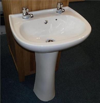 Stafford Ceramic Wash Basin Pedestal Bathroom Sink 2 Tap Hole