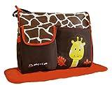 DAS ORIGINAL BOMIO® 3tlg. Baby Wickeltaschen-Set (Safari Edition) Giraffe (Orange)