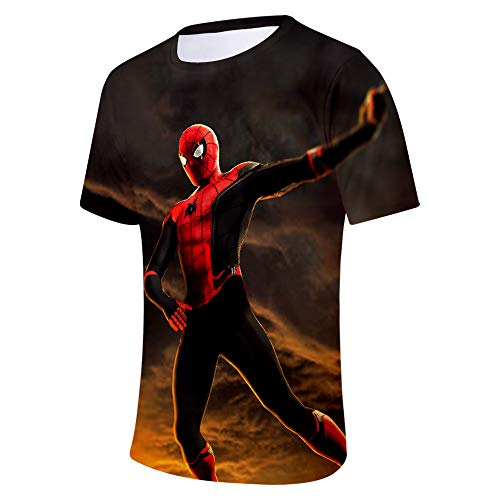 Expedition S/s Shirt (WQWQ Sommer Herren T-Shirt Shirt Rundkragen Digitaldruck Fitness Spider-Man Heroes Expedition, A,S)