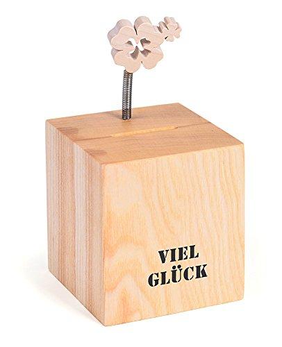 Spardose Würfel Quadrat Viel Glück mit Kleeblatt 9 x 9 x 17 cm aus Holz braun natur, Gelddose Sparbüchse Geschenk Geburtstag, Kunsthandwerk aus Europa