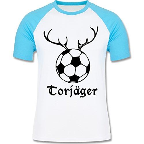 Shirtracer Fußball - Torjäger - Herren Baseball Shirt Weiß/Türkis