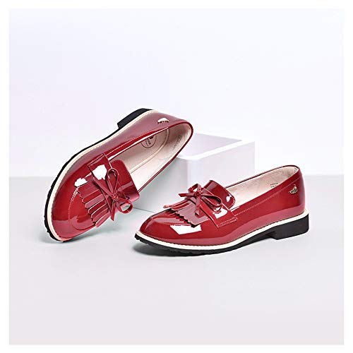 Women es Classic Bow Tassels Slip-On Penny Loafers Low Heel Patent Leder Komfortschuhe,Red,34 Red Patent Bow