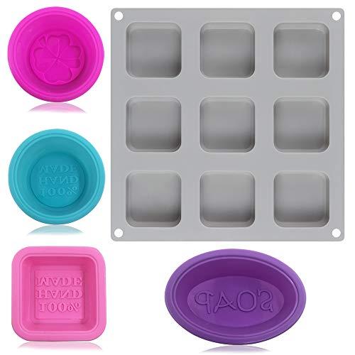 Molde silicona jabón 9 cavidades 4 moldes individuales