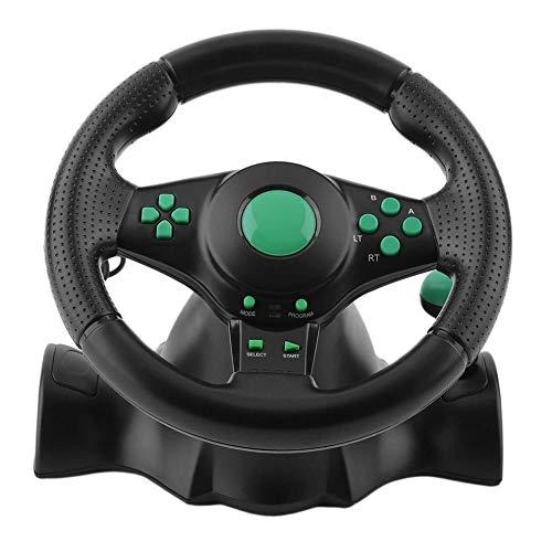 Games-Zubehör 140 cm Komponente, 5 RCA 180 Grad drehbar, Gaming Vibration Racing Lenkrad mit Pedalen für Xbox 360 für PS2 für PS3 PC USB Auto Lenkrad, schwarz 2 - Ps3 Spiele Racing