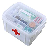 Benbroo Extra Large Household Home/Office/Car/School First Aid Multifunctional Clip-On Handle Medicine/Toy Storage Organizer Box (WhiteBig)