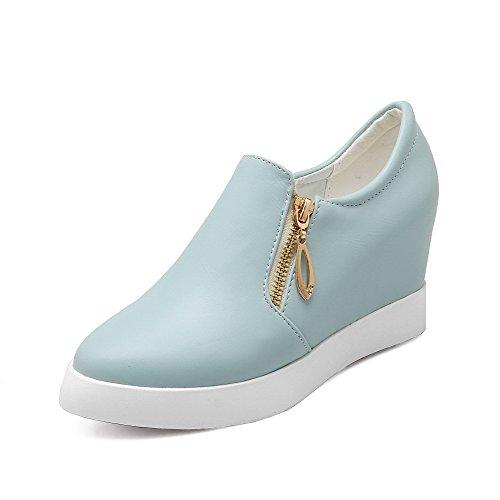 AllhqFashion Femme Zip à Talon Haut Pu Cuir Couleur Unie Rond Chaussures Légeres Bleu