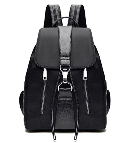 Tibes wasserdichten Rucksack-Mode Nylon netten Rucksack für Mädchen Damen Kordelzug Daypack Schwarz (Mini-nylon-rucksack)