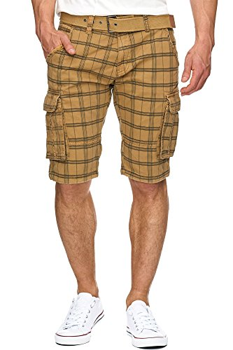 S!RPREME Karierte Herren Cargo Shorts inkl. Gürtel Bermuda Kurze Hose Jeans Karo Chino Battlefield 70-050 Amber L