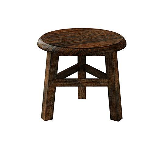 ZHDLJ Holz-Fußhocker, runde Fußstütze, Multifunktions-Hocker, für Erwachsene, Holz-Fußhocker, stabil, stabil, dekorativer Blumenhocker, Blumenständer, niedrig, Schwarz