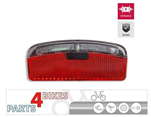 P4B Fahrrad LED Dynamo-Rücklicht mit StVZO Zulassung und Z-Reflektor   zur Montage am Gepäckträger (80 mm Schraubenabstand)