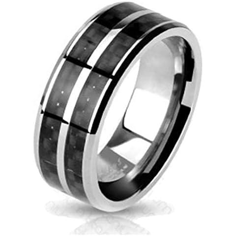 Paula & Fritz® Titanio Anillo Plata Black Carbon Fiber Inlay disponibles Ring tamaños 53(17)–69(22) R de TM de 3634