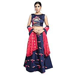 WomenS Nevy Blue Color Embroidered Lehenga -ASBC2A16