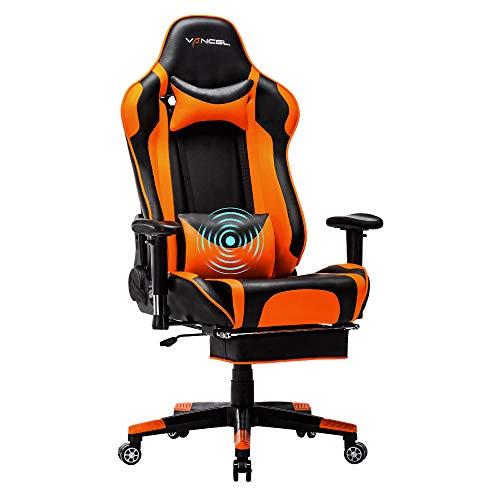EVANCEL Gaming Stuhl in E-Sports Racing Style Massage Teillenkissen Computerstuhl Ergonomisches Design schwenkbarer mit Verstellbaren Armlehnen und Fußstütze, Wippfunktion mit PU Leder (Orange)