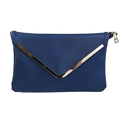 Shopping-et-Mode - Petite pochette de soirée bleue marine enveloppe avec détails argentés - Bleu marine, Simili-cuir