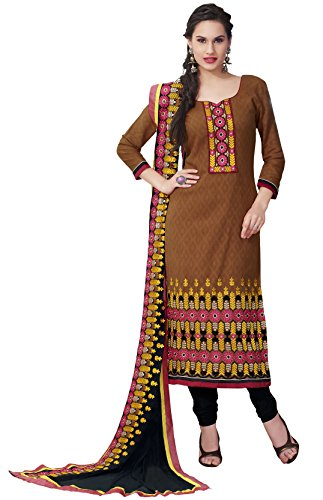 Kvsfab Brown and Black Cotton Salwar Kameez