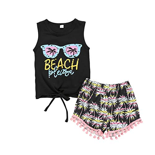 Sanahy Baby Kleidung Set, Mädchen Jungs Ärmellos Weste T-Shirt + Quaste Shorts Outfits 2 Stück Sommer Baby Strandkleidung