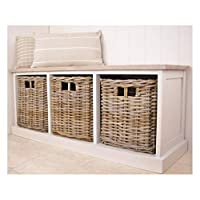 Bliss and Bloom Hallway Storage Seat Bench 3 Rattan Baskets Antique White
