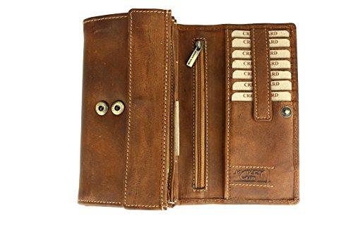 BELLI Vintage Leder Damen Geldbörse Portemonnaie Cognac braun - 17,5x10x4cm (B x H x T) (Cognac)