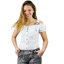 b626e24d45ee95 Fuchs Trachtenmoden Damen Trachten Bluse mit Carmenarm und Metall Schließe