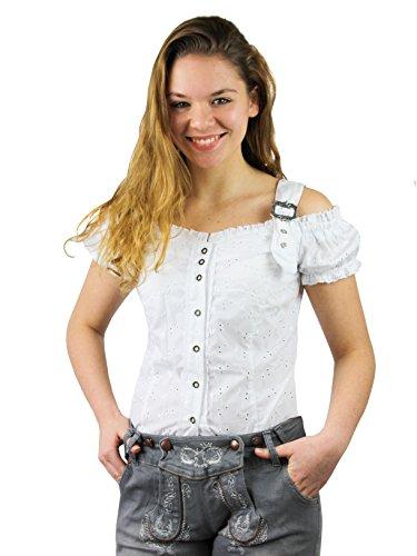 Tolle Damen Trachten Bluse mit Träger in 7 Farben Gr. XS-XXL Deutscher Hersteller (XL, weiß)