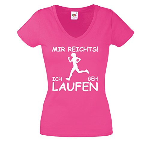 T-Shirt MIR REICHTS! ICH GEH LAUFEN Damen V-Neck Shirt. Joggen Joggerin Jogging Sprüche Pink-Weiss