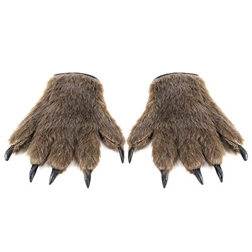 Hippie Männlichen Für Erwachsenen Kostüm - IBLUELOVER Halloween Handschuhe Wolf Bär Pfote Werwolf Kostüm Horror Party Deko mit Plüschhaar Tier Monster Cosplay Requisiten Musical Karneval Fasching Zubehör für Maskerade Make Up Spukhaus