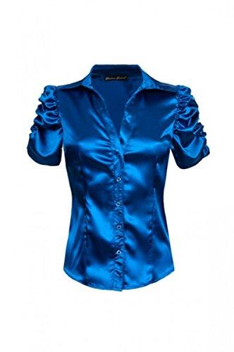 Laeticia Dreams Damen Bluse V-Ausschnitt Kurzarm XS S M L XL XXL Blau